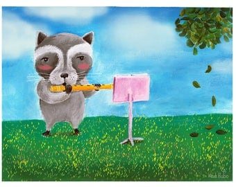 The Flutist, Fine Art Print. Raccoon Illustration