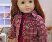 18 Inch Doll Flannel Shirt - Red Plaid Button Down & Gray Shirt - Autumn Doll Clothes -American Made Unisex Doll Clothes