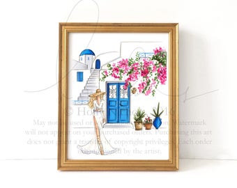 Santorini in Bloom (Choose hair/skintone) Fashion Illustration print