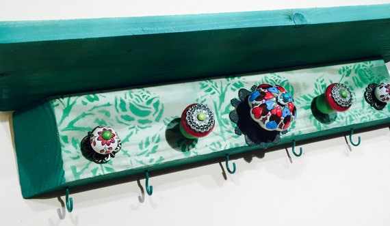 Mudroom storage farmhouse decor kitchen shelf Entryway organizer dish towel rack wall art decor teal roses 5 colorful knobs 6 coat hooks