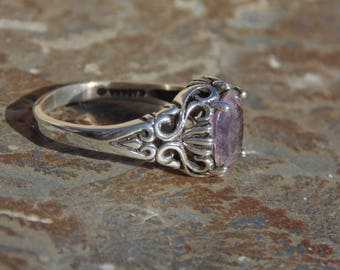 Kabana ~ Sterling Silver and Amethyst Band Ring with Pierced Center Design - Size 8.5