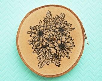 Flowers painting on wood