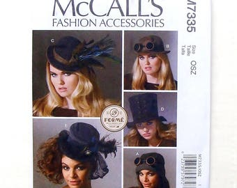 """McCall's Fashion Hats Accessories Sewing Pattern #M7335-Sizes XS(20 1/2"""")-S (21 1/2"""")-M (22 1/2"""") - L (23 1/2"""")"""