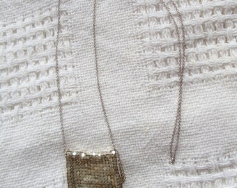 Vintage Silver tone Whiting & Davis Pouch Necklace Long Length