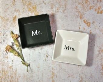 Mr. and Mrs. Ring Dish Set, Engagement Ring Dish