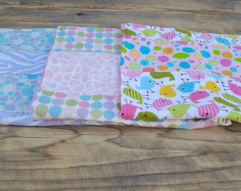 Set of 3 baby girl burp cloths - flannel baby girl burp cloths - baby shower gift - flannel baby girl burp cloths