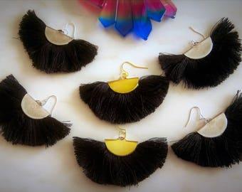 Fan Earrings, Black Earrings, Black Fan Earrings, Tassel Earrings, Brass Earrings, Fringe Earrings, Ethnic Earring, Silver Fan, Big Earrings