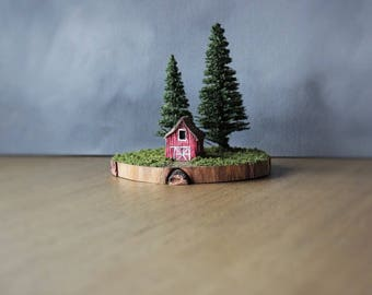 Miniature Barn Diorama, Country Landscape, Farmhouse Decor, Rustic Art, Miniature Building, Farm Diorama, Rustic Landscape, Miniature Art