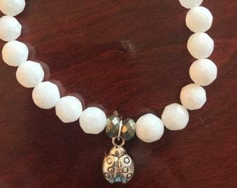 White Jade Ladybug Bracelets
