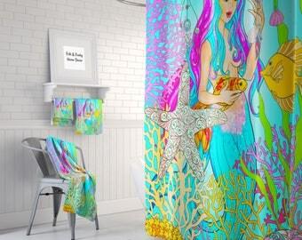 Sexy Martini Mermaid Shower Curtain Pin Up Girl Bathroom Decor