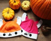 Cute kawaii fox fleece cosplay beanie hat, available in Orange, Pink and White. With or without super cute face, Kitsune, Manga, Anime hat
