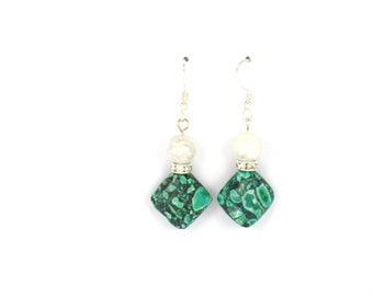 Earrings, green earrings, green jewelry, bridesmaid earrings, dangle earrings, bridal gift, drop earrings, sterling silver jewelry
