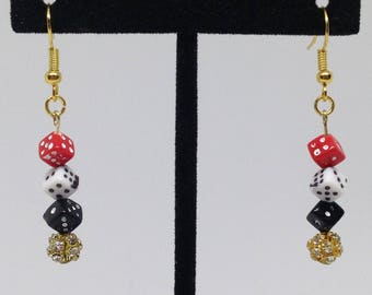 Lucky Earrings  Lucky Gold Earrings Gambling earrings  Casino night earrings Dice games  Dangle Earrings   Under 20