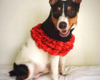 Halloween Costume Crochet Dog Poncho Cat Cape Unique Handmade Black Orange Ruffles Photo Prop Trick-or-treat Party