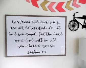 Joshua 1:9 Be Strong and Courageous Wood Sign Bible Verse Wooden Sign Scripture Wall Art Boy Nursery Sign Dining Room Sign Gift for Man