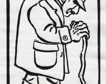 His Daily Walk, A Linocut of an Old Man Walking