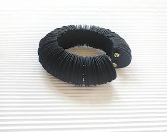 Black bangle bracelet, paper jewelry, modern jewel, minimalist, gift for her