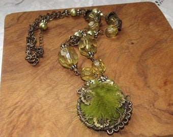 Unusual Vintage Pendant, Bead and Link Chain Necklace. Fur Pendant Green Beads.