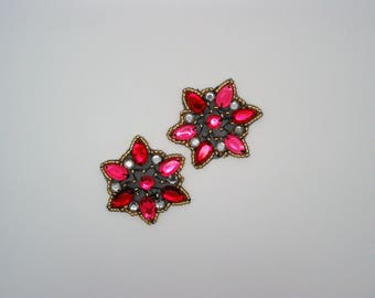 Set of 2 application star beads gold and Red Rhinestones, size 5cm / 1.96 inches