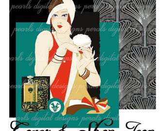 Deco Flapper, Cover banner and Shop Icon, instant download, blank file, art deco, Roaring twenties, vanity, perfume powder puff, fashion 20s