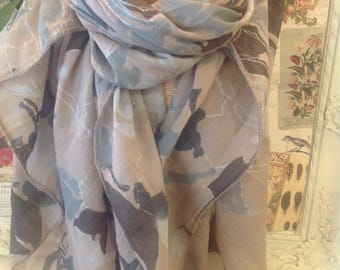 Beige scarf with mint green and pale grey and silver sparkle detail