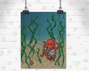 Ocean Cat Art, Funny Cats, Children's Decor, Kids Room, Cute Art, Kitty art, Decor, Art Print, Giclee Print, Archival Print, Sea, Octopus