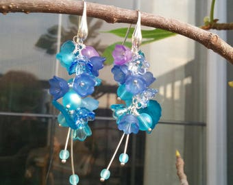 Earrings with Blue Flowers and Leaves