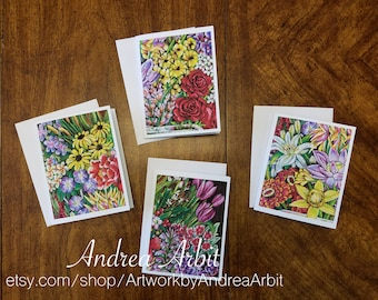 Flower Drawing Prints - Religion Bouquet Set - Pack of 4 Blank A2 Notecards