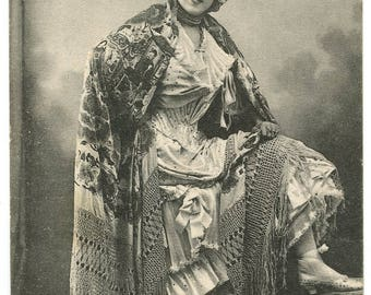 1910 Pretty Lady Postcard Antique Vintage Chinese Shawl Fashion Edwardian Victorian