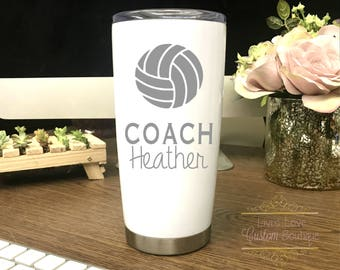 Volleyball Coach Mug - Gift for Volleyball Coach - Engraved - Dishwasher Safe - Stainless Steel - Coach Gift - Coffee Travel Christmas Gift