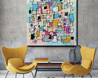 Candy Maze - Large Original Unique Contemporary Abstract Modern Painting Fine Art by Merv