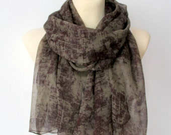 Sheer Silk Scarf Brown Silk Scarf Silk Chiffon Scarf Designer Silk Scarf Unique Personalized Accessories Gift Women Christmas Gift for women