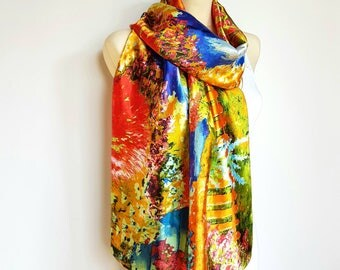 Large Shawl Silk Shawl Boho Silk Scarf Women Shawl Silk Scarf Silk Scarves Gift for Women Bridal Accessories Valentines Day Gift for her