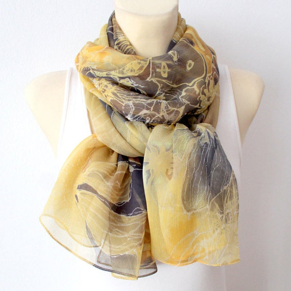 Handpainted Silk Scarf Soft Chiffon Scarf Yellow Silk Scarf Silk Chiffon Scarf Designer Silk Scarf Summer Outdoors Summer Party Gift Women