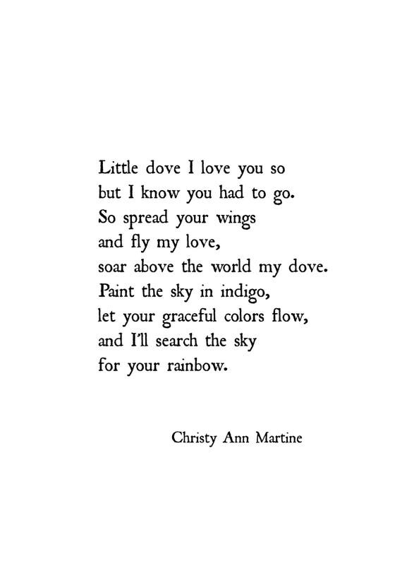 Sympathy Gift for Loss of Child Baby Daughter or Son - Print Gifts - Little Dove Poem by Christy Ann Martine