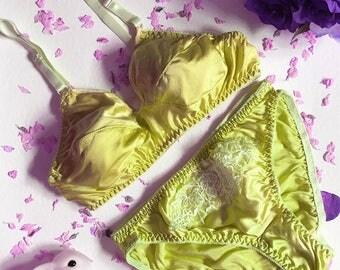 Joan Yellow Silk Bra & Panties Lingerie Set