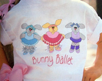 Bunny Ballet Iron On Transfer - Shirt Designs, Tulip Productions T-14