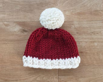 Baby / Toddler Santa Hat / Red & Cream / Pom Pom