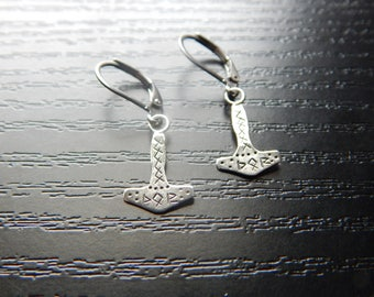 Thor's Hammer Silver Earrings