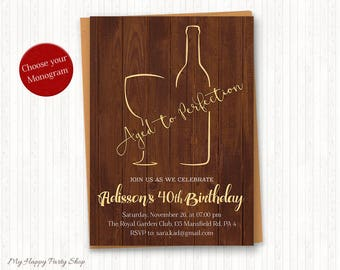 Wine Invitations, Aged to Perfection, Adult Birthday, Wine Tasting, Adult Party, PRINTABLE, 30th, 40th, 50th, 60th, 70th, 80th - AU004