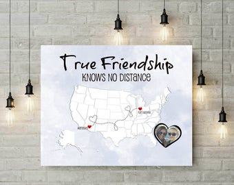True Friendship US Map | Long Distance Map | Valentines Day Gift | Birthday Gift | Mothers Day Gift | Two States Map | Keepsake Gift -49477B