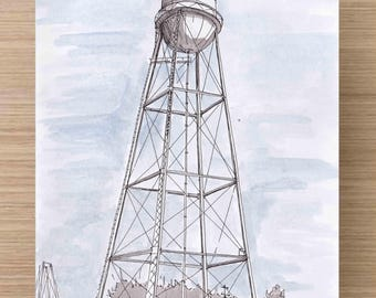 Water Tower in Marfa, Texas - Engineering, Architecture, Perspective, Ink Drawing, Sketch, Watercolor, Art, Pen and Ink, 5x7, 8x10