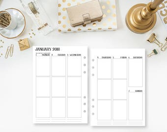 A5 2018 Weekly Vertical printed planner calendar - Wo2P - week on two pages - week layout - Monday through Sunday