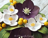 FREE SHIPPING - Original Paper Quilling Art - 3D Wall Art - Paper Flowers - Hellebore - English Dogwood - Botanical Artwork - Home Decor