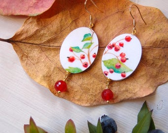 botanical dangle earrings HETEROMELES ARBUTIFOLIA, oval painted earrings in botanical style, eco friendly dangle with red quartz