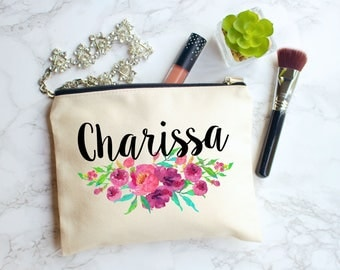 Personalized Cosmetic Bag, Makeup Bag, Personalized Bag, Floral Monogram Bag, Bridesmaid Gifts, Makeup Case, Cosmetic Bag, Gift for Her, Bag