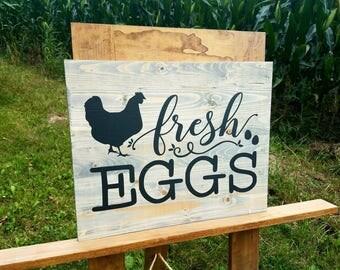 Fresh Eggs Sign - Chicken Decor - Chicken Coop Sign - Chicken Signs - Farmhouse Sign - Farmhouse Kitchen Decor - Country Kitchen Wall Decor