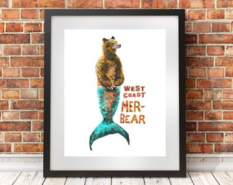 West coast art, mermaid art, bear, grizzly, cabin decor, rustic decor, kids room art, pacific north west art, wall decor, 8x10, 11x14, 16x20