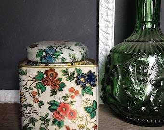 Vintage Floral Tin Box, English Candy Tin, Daher Floral Tin, Made in England, Boho Decor