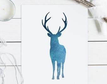 Deer printable, deer print, deer wall art, antler decor, antlers print, Deer nursery, nebular wall art, stars print, woodland nursery